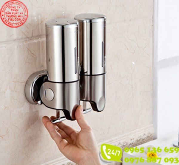 Hộp đựng dầu gội sữa tắm khách sạn gắn tường đôi inox 304 cao cấp